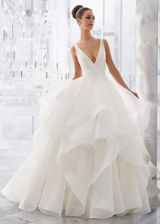 Stunning Romantic Flounced Organza Plunging V-Neck Bridal Ball Gown [Mori Lee Blu 5577] – $278.00 : Prom Dresses 2017,Wedding Dresses & Gowns On Sale,Buy Homecoming Dresses From Ailsadresses.com