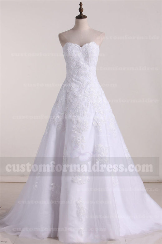 2017 Tulle Lace Sweetheart Wedding Dresses A Line with Train FYMX24