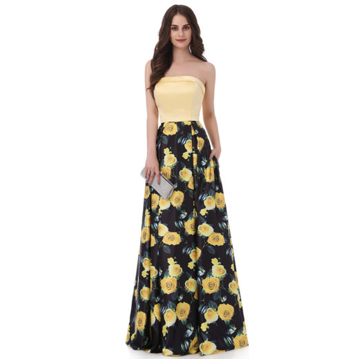 Yellow Printed Flower Sweetheart Pattern Long Prom Dress with Side Pocket [17027] – $156.00 : Unique Designer Women's Clothing & Dresses Shop Online Now For Affordable Styles – Ailsaclothing.com