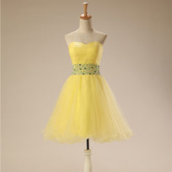 Yellow Sweetheart Cute 8th Grade Short Homecoming Dress With Beaded Belt [17015] – $88.00 : Unique Designer Women's Clothing & Dresses Shop Online Now For Affordable Styles – Ailsaclothing.com