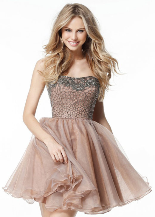 Absolutely Short Nude Gunmetal Strapless Beaded Organza Prom Dress [Sherri Hill 51398 Nude Gunmetal] – $190.00 : Prom Dresses 2017,Wedding Dresses & Gowns On Sale,Buy Homecoming Dresses From Ailsadresses.com