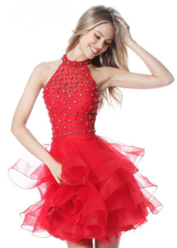 2017 Chic Beaded Halter Neck Red A Line Tiered Senior Graduation Prom Dress [Sherri Hill 51559 Red] – $190.00 : Prom Dresses 2017,Wedding Dresses & Gowns On Sale,Buy Homecoming Dresses From Ailsadresses.com