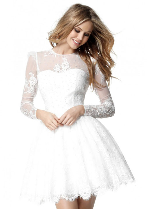 Chic Illusion Lace Neck Long Sleeves Ivory A Line Homecoming Dress [Sherri Hill 51417 Ivory] – $190.00 : Prom Dresses 2017,Wedding Dresses & Gowns On Sale,Buy Homecoming Dresses From Ailsadresses.com