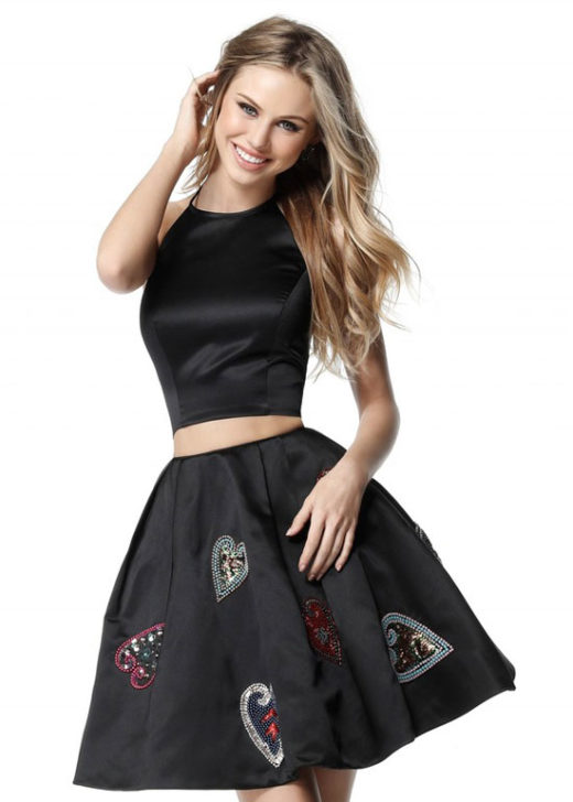 2017 Classy Two Piece Black Homecoming Dress With Sequin Heart Detail [Sherri Hill 51397 Black] – $206.00 : Prom Dresses 2017,Wedding Dresses & Gowns On Sale,Buy Homecoming Dresses From Ailsadresses.com