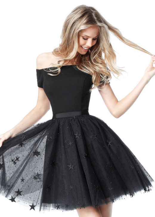 Lovely Off The Shoulder Star Appliques A-Line Tulle Black Homecoming Dress [Sherri Hill 51505 Black] – $188.00 : Prom Dresses 2017,Wedding Dresses & Gowns On Sale,Buy Homecoming Dresses From Ailsadresses.com