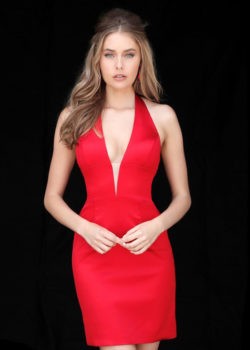 Sleek Short Fitted Deep Plunging V Neck Halter Bodice Red Prom Dress [Sherri Hill 51420 Red] – $155.00 : Prom Dresses 2017,Wedding Dresses & Gowns On Sale,Buy Homecoming Dresses From Ailsadresses.com