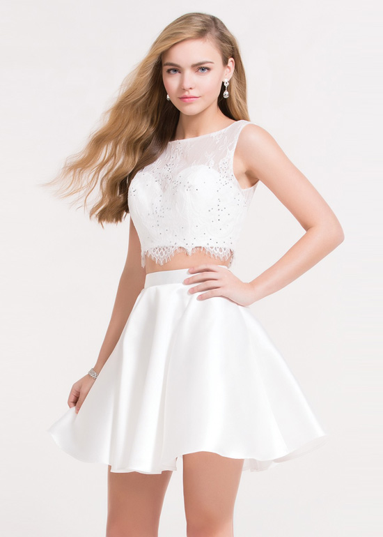 6bae31af950 Cute Lace Sleeveless Crop Top V Back Two Piece White Homecoming ...