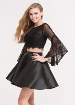Fabulous Lace Trumpet Sleeve Crop Top Two Piece Black Homecoming Dress [Alyce 3732 Black] – $138.00 : Prom Dresses 2017,Wedding Dresses & Gowns On Sale,Buy Homecoming Dresses From Ailsadresses.com