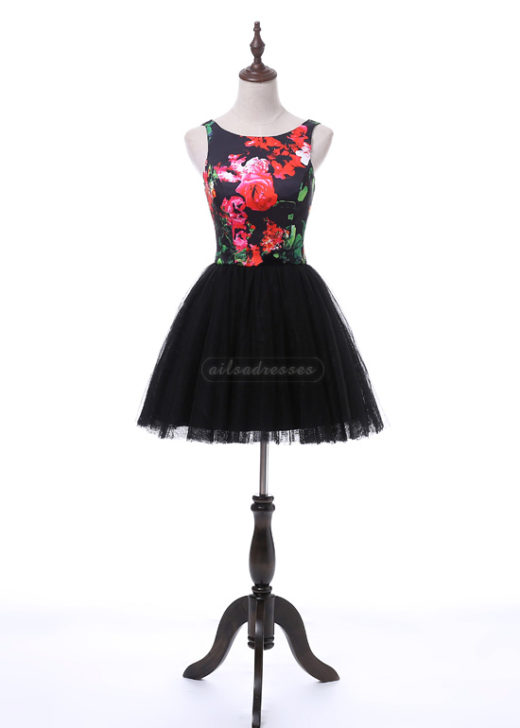 New Arrival Short A Line Scoop Neck V Back Printed Black Homecoming Dress 2017 [A-015] – $116.00 : Prom Dresses 2017,Wedding Dresses & Gowns On Sale,Buy Homecoming Dresses From Ailsadresses.com