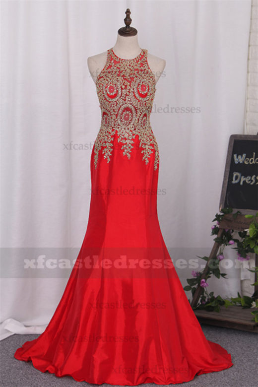 2017 Lace Applique Mermaid Prom Dresses EN1SH1202