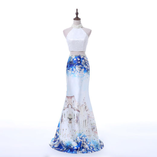 Elegant Beaded High Halter Neck Two Piece Stain Printed Mermaid Prom Dress 2018 [PS1701] – $138.99 :