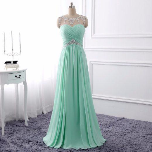 Elegant Charming Mint Green Beading Pleated Cutout Back Long Evening Prom Dress [PS1704] – $106.99 :