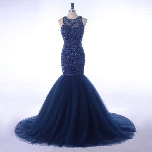 Elegant Navy Blue Rhinestone Beading Top Tulle Mermaid Evening Prom Dress 2018 [PS1708] – $218.99 :