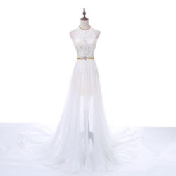 Fashion Long White Beaded Lace Halter Neck Evening Prom Formal Dress With Silt [PS1703] – $136.99 :
