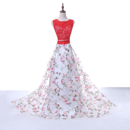 Hot Sale Red Lace Scoop Neck Keyhole Back Floral Printed Two Piece Prom Dress 2017 [PS1702] – $148.99 :