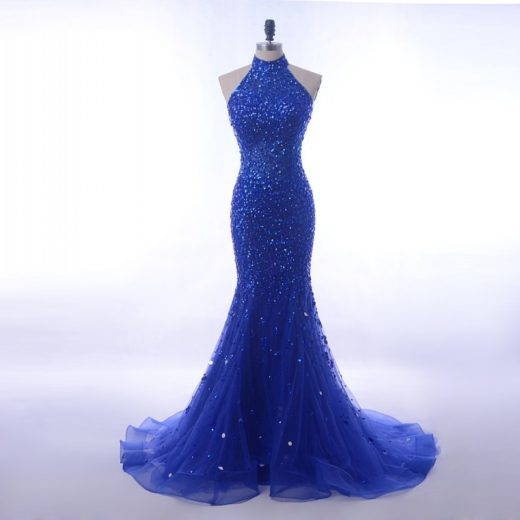 Luxury Sequin Crystals Long 2018 Royal Blue Halter High Neck Mermaid Prom Dress [PS1707] – $198.99 :