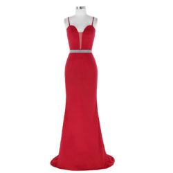 Sexy Spaghetti Straps Sweetheart Sheer Insert Red Evening Dresses With Beaded Belt [ES1708] – $138.99 :