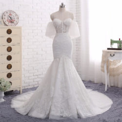 2018 Fashion Strapless Lace Appliques Off Shoulder Mermaid Bridal Gown with Sheer Bodice [WS1712] – $228.99 :