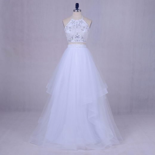 Fashion Two Piece White Beading Top Halter Neck Tulle Long Graduation Prom Dress [PS1716] – $138.99 :