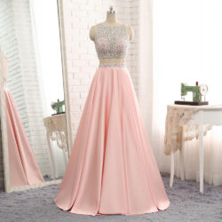 Hot Trendy Long Two 2Piece Beaded Cutout Back Satin Evening Graduation Prom Dress [PS1720] – $139.99 :