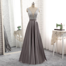 2018 Long Deep V Neck Sheer Insert Beaded Bodice Grey Stain Evening Prom Dress [PS1719] – $138.99 :