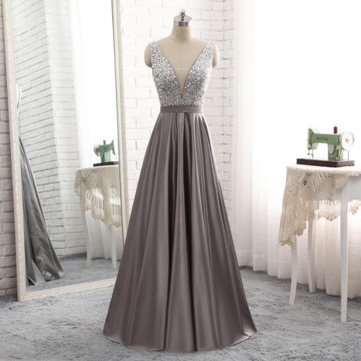 2018 Long Deep V Neck Sheer Insert Beaded Bodice Grey Stain Evening Prom Dress [PS1719] – $138.99 :