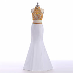 Modern Two Piece High Neck Gold Crystal Beaded White Stain Long Prom Dress [PS1717] – $165.99 :