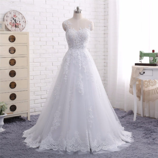 2018 New Arrival A Line Scoop Neck Lace Appliques Sheer Bridal Wedding Dress [WS1711] – $198.99 :