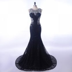 Vintage Lace Black 2018 Crystals Sheer Illusion Back Long Prom Evening Dress [PS1709] – $188.99 :