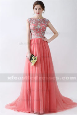 A Line Beaded Long Tulle Prom Dresses MXN904