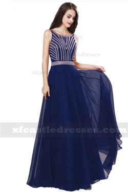 A Line Chiffon Beaded Long Prom Dresses MXN1179