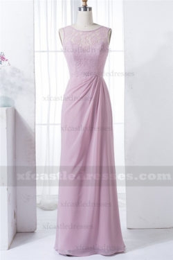 A Line Chiffon Lace Bridesmaid Dresses Long MXN1286