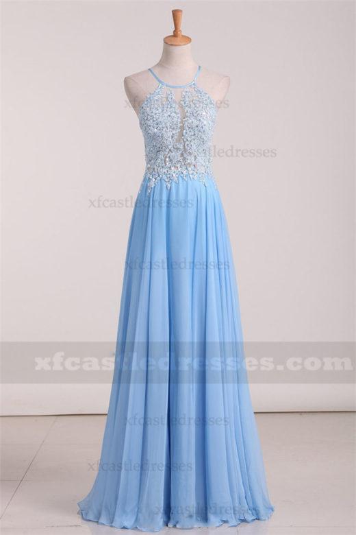 A Line Chiffon Lace Halter Neck Long Prom Dresses RL741