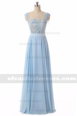 2018 A Line Chiffon Lace Long Prom Dresses MXN804