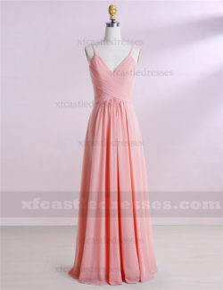 A Line Chiffon Long V Neck Bridesmaid Dresses MXN1303