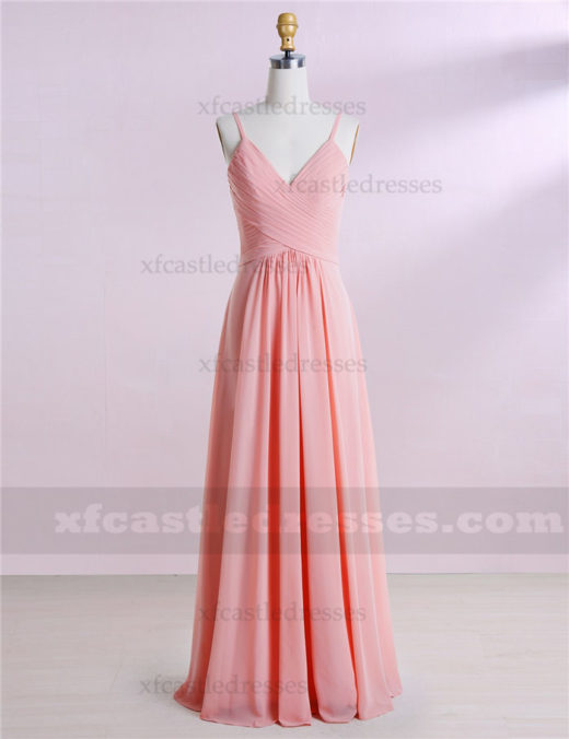 A Line Chiffon Long V Neck Bridesmaid Dresses MXN1303