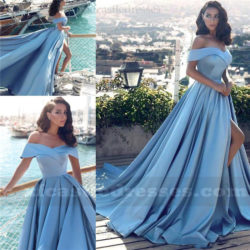 A Line Satin Off the Shoulder Split Prom Dresses EN1SH119
