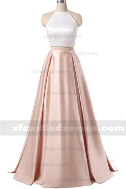 A Line Satin Two Piece Prom Dresses with Pockets MXN1249