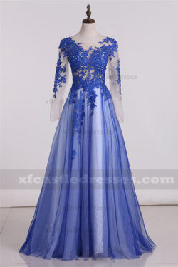 2017 A Line Tulle Lace Formal Prom Dresses with Long Sleeve ZPGP361