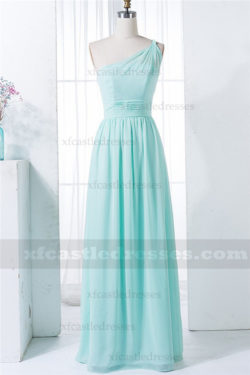 A-Line Chiffon One Shoulder Bridesmaid Dresses Long MXN1282