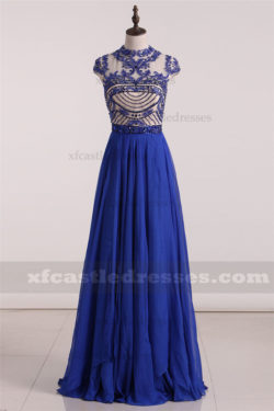 2017 Bead Long Blue Prom Dresses High Neck Cap Sleeve GNWSH2007