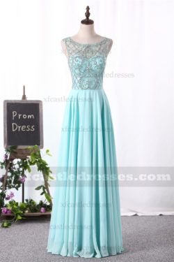 2017 Beaded Chiffon Long Prom Dresses Boat Neck ENWSH1045