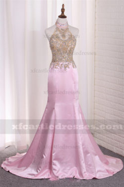 Beaded Satin Halter Neck Mermaid Prom Dresses MXN536