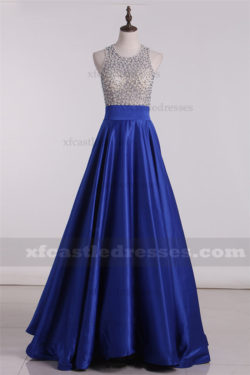 2017 Beaded Satin Two Piece Prom Dresses A Line Ball Gowns ZPGP499