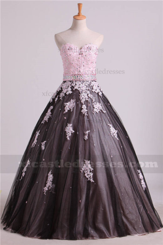 2017 Beaded Strapless Black Pink Lace Ball Gown Prom Dresses QUXF27