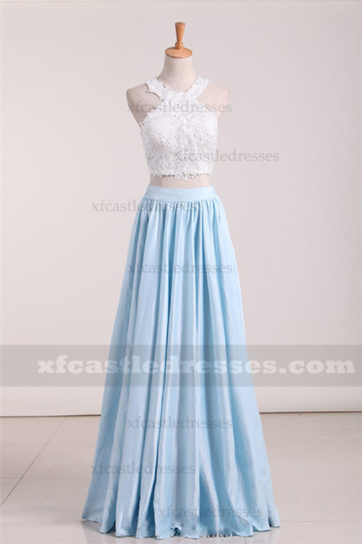 2017 Blue Halter Long Lace Two Piece Prom Dresses ZPGP512