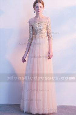 2018 Champagne Lace Long Prom Dresses with Sleeves FFN61