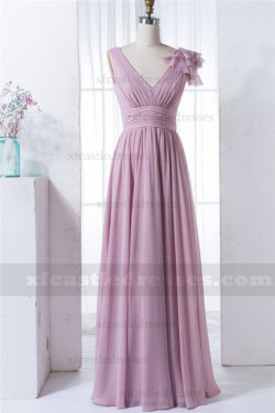 Chiffon Long V Neck Bridesmaid Dresses MXN1280