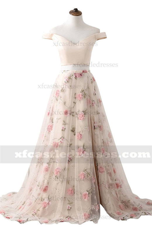 Floral Print Off the Shoulder Two Piece Split Prom Dress MXN1243