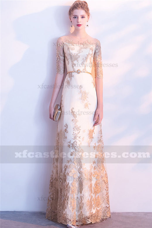 2018 Gold Lace Long Prom Dresses with Sleeves Evening Gown FFN28